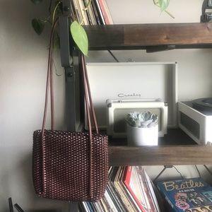 Vintage leather woven bag